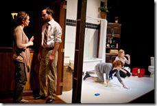 Amy (Cyd Blakewell, far left) struggles to solve this crisis with her brother Josh (Keith Neagle) while her best friends Ginger (Anna Carini) and Amelia (Calliope Porter, far right) clean Amy's bathroom in SiNNERMAN Ensemble's Sweet Confinement, by Anna Carini, directed by Brea Hayes. Photo by Ben Chandler.