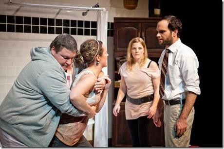 Caleb (Howie Johnson, left) and Amelia (Calliope Porter, second from right) try to calm Amy (Cyd Blakewell) when she accuses her brother Josh (Keith Neagle, right) of abandoning their family of lifelong friends in SiNNERMAN Ensemble's Sweet Confinement, by Anna Carini, directed by Brea Hayes. Photo by Ben Chandler.