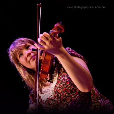 Photo - fiddler patsy Reid, playing with the band Vamm at the Scots Fiddle festival in Edinburgh, Scotland