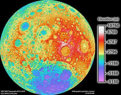 High Resolution Global Topographic Map Of The Moon
