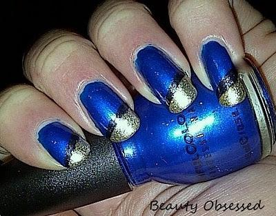 NOTW: MIDNIGHT BLUE & GOLD TIPS USING SCOTCH TAPE