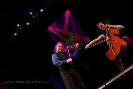 Photo - Alastair Fraser and Natalie Haas playing at the Scots Fiddle Festival in Edinburgh, Scotland