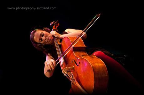 Photo - Natalie Haas playing cello at the Scots Fiddle Festival in Edinburgh, Scotland