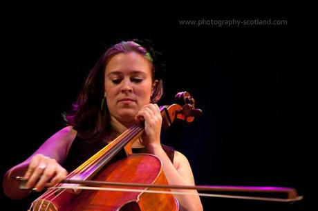 Picture - Natalie Haas playing cello at the Scots Fiddle Festival in Edinburgh, Scotland