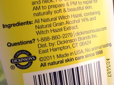 Dickinson's Witch Hazel Pore Perfecting Toner – Gently and Naturally Effective