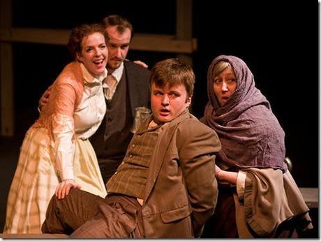 "Meg Elliott, Clay Sanderson, James Holbrook and Maggie Speer in Polarity Ensemble Theatre's ""Peer Gynt"". Photo by John W. Sisson, Jr."