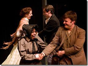 "Meg Elliott, Elaine Bell, Bryan Breau and James Holbrook in Polarity Ensemble Theatre's ""Peer Gynt"". Photo by John W. Sisson, Jr."