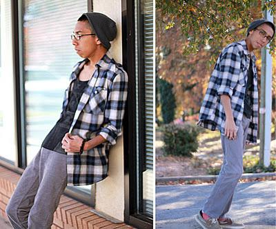 LAZY CHIC[Grey Beanie hat / Oversized Plaid Converse Dres...
