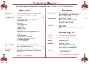 The Inspired Scone Menu