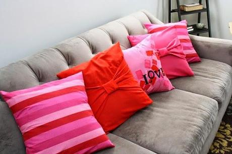 Pink And Red Cushions On Grey Couch - Paperblog