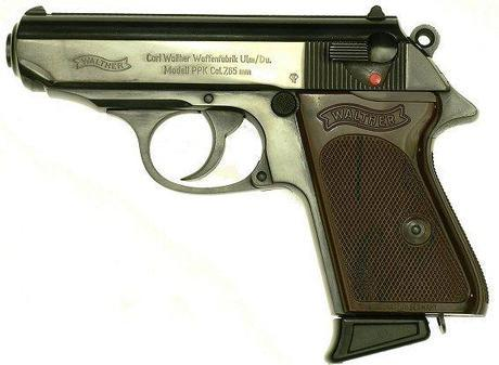Bond's Walther PPK, like the one pictured, was a .32 (7.65 mm) model. The magazines had an extended spur to accommodate his large hands.