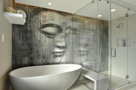 Zen Bathroom with Budhha Wall Paper