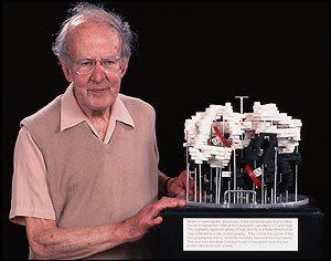 Max Perutz with his hemoglobin model. Image credit: BBC.