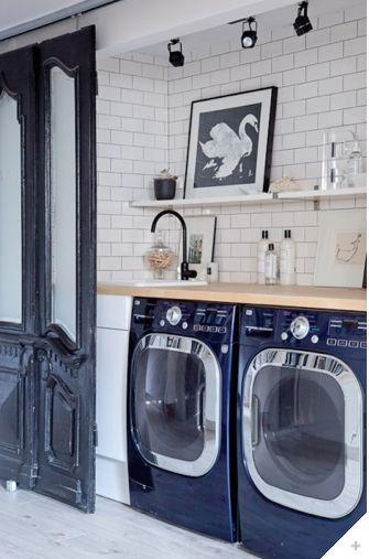 Laundry Nook or washroom- loving the navy blue washer and dryer and spotlight track.