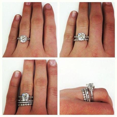 Engagement Ring Thin Wedding Band Stack