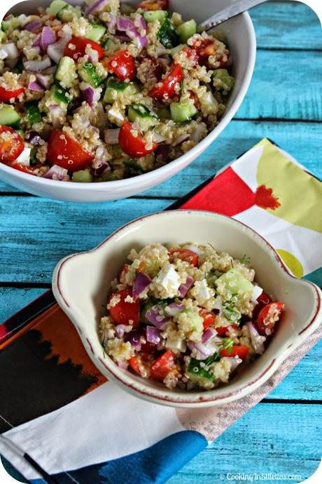 Cucumber Tomato Salad with Quinoa and Ricotta Salata - Guest Post from Cooking in Stilettos