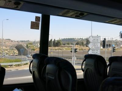 On our bus heading from Jerusalem to Bethlehem across the border