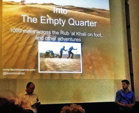 Leon McCarron answering questions after the screening of his film, Into The Empty Quarter at the HipTrip Film Festival in Bucharest, Romania.