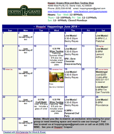 June Calendar Events : June calendar of events for hoppin grapes wine and