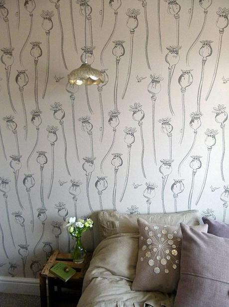 Earth Inke Wallpaper in Poppy Pepper Pots Design- via MiaFleur