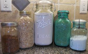 Mason Jars.  Make sure to label with contents and date!