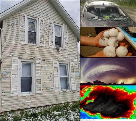 Hail's destructive path in the Midwest