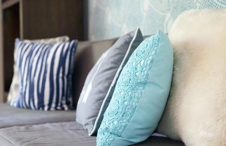 closeup of living room pillows