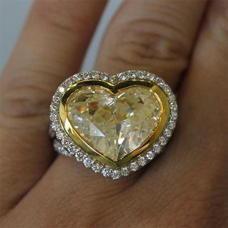 Fancy Yellow Heart Shaped Engagement Ring