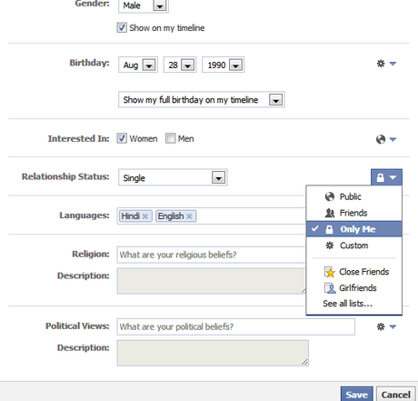 How to change facebook relationship status without anyone knowing