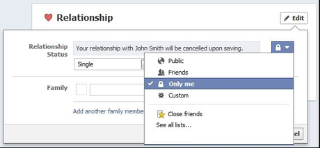 facebook change relationship status without people knowing