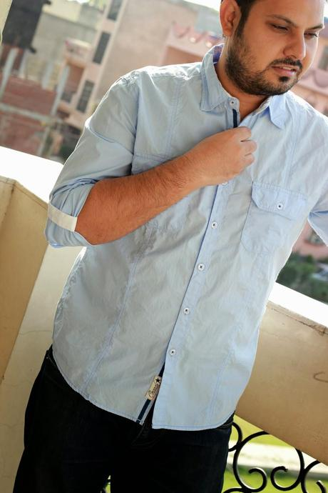 Powder Blue Cotton Button-Down Shirt From MAX Fashions - Paperblog