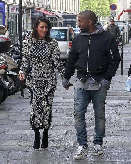 kim and kanye on the Rue Pierre Charron Paris womens fashion mens fashion celebrity fashion