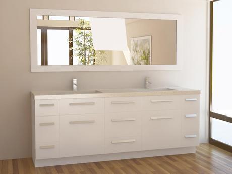 84 inch Moscony Double Sink Vanity White