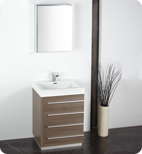 Fresca 23.5 inch Livello Single Bath Vanity Gray Oak