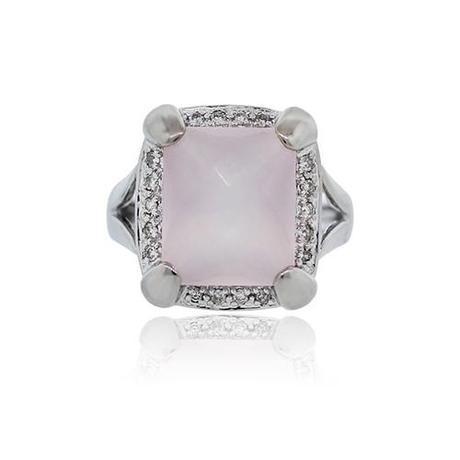 14K White Gold Checkered Rose Quartz Diamond Cocktail Ring