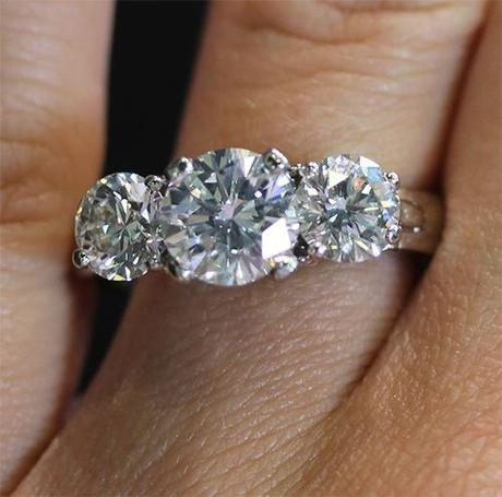 Platinum Three Stone Round Brilliant Diamond Engagement Ring with GIA