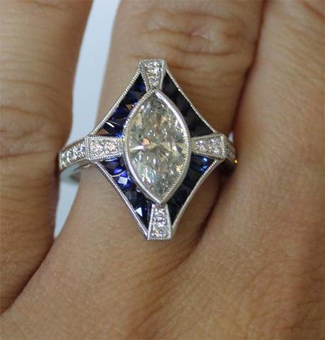Antique Style Sapphire and Marquise Engagement Ring