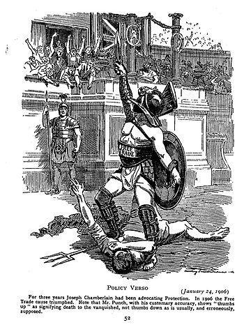Punch cartoon (1906); Free Trade triumphs over...
