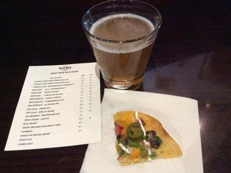 Apricot Blonde from Dry Dock Brewing with a delicious nacho