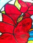 stained glass hibiscus flower red and yellow painted