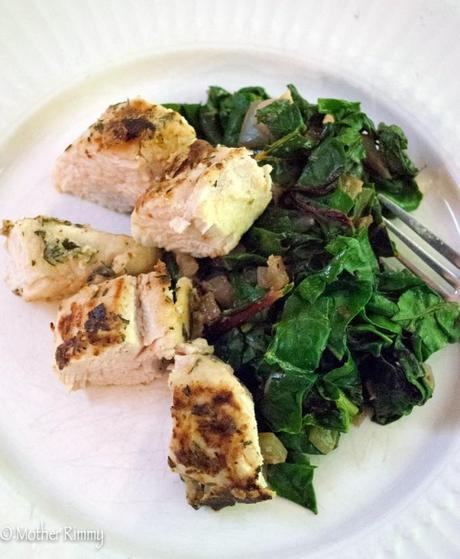 Turkey Tenderloins and Garlicky Chard