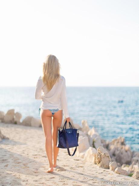 Fitness On Toast Faya Blog Girl Gym Healthy Workout Training Longchamp Missoni Swim Summer Bikini Blue Cap Ferrat French Riviera OOTD Swimwear Beach Summery Look-3