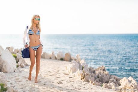Fitness On Toast Faya Blog Girl Gym Healthy Workout Training Longchamp Missoni Swim Summer Bikini Blue Cap Ferrat French Riviera OOTD Swimwear Beach Summery Look-2