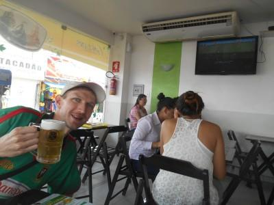 Having a beer in Macapa watching the World Cup in a restaurant.