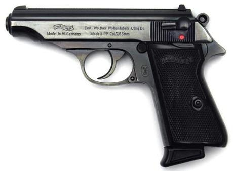 A West German Walther PP chambered in .32 ACP and manufactured in 1972. The model used in Dr. No was chambered in .380 ACP with a flat magazine base, had brown bakelite grips, and was certainly manufactured at least ten years earlier than this model.