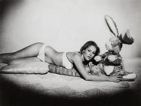 This was a genuine promotional photo from Dr. No, but I have absolutely no idea what the giant stuffed bunny is all about. Perhaps the producers knew that all they needed was the sight of Ursula Andress in a bikini to draw in audiences.