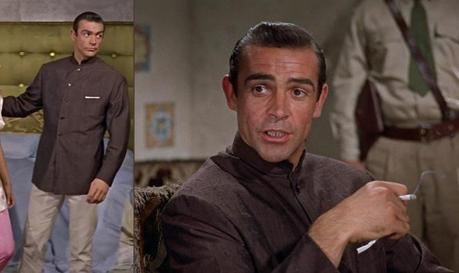 Bond wears a look that would later be adopted by his chief nemesis Blofeld.