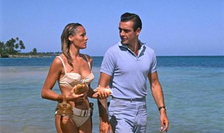 Note the Walther PP sticking out of his right rear pocket, although Bond seems pretty disarmed by Honey's equally dangerous assets.