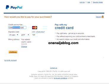 paypal credit card detail