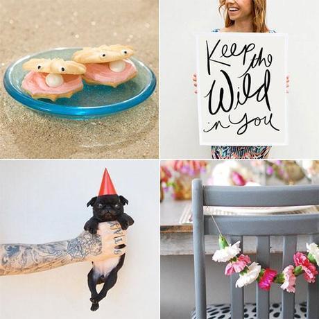 oyster cookies, inspirational print, cute pug, flower garland